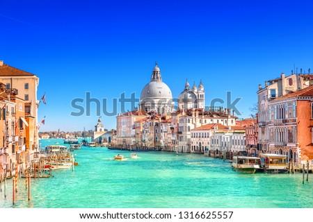 View of Grand Canal and Basilica Santa Maria della Salute in Venice #1316625557