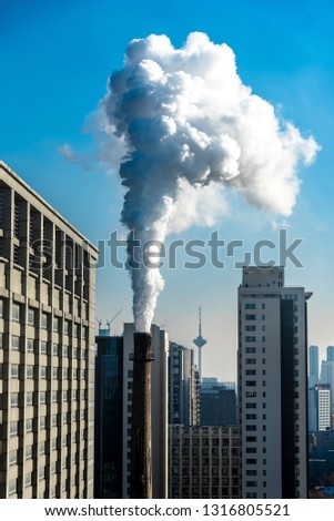 industrial factory smoke stack of coal power plant from chimney up on sky cause air pollution and destroy the Earth's atmosphere, Global warming concept #1316805521