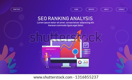 Seo ranking, SEO growth, Digital marketing growth analysis, flat design vector conceptual banner with icons #1316855237