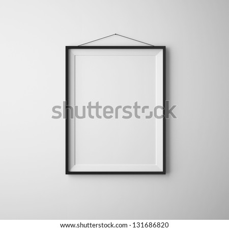 black frames on white concrete wall
