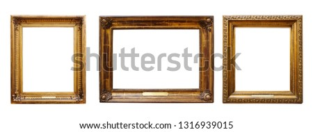 Set of three vintage golden baroque wooden frames on white isolated background #1316939015