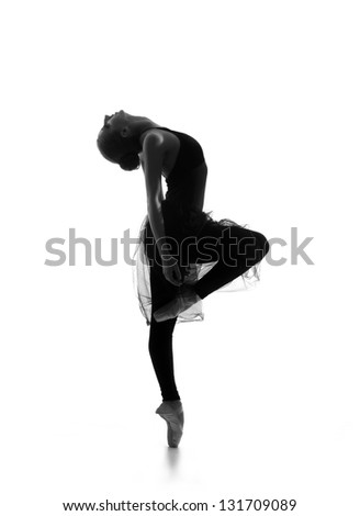 Black and white trace of young beautiful ballet dancer isolated over white background #131709089
