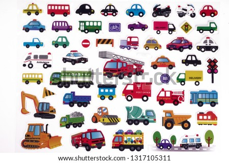 Transport icons set of stickers, colorful motor vehicles in a variety of colors shapes and sizes.