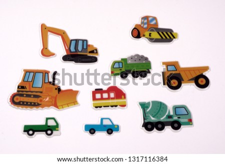 Transport icons set stickers, colorful motor vehicles in a variety of colors shapes and sizes. Concept of work in progress.