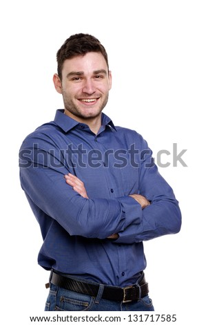 Handsome man wearing a blue shirt and jeans isolated on a white background #131717585