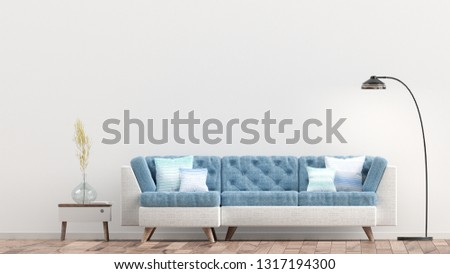 Empty living room with white wall and light blue sofa, 3D Rendering #1317194300