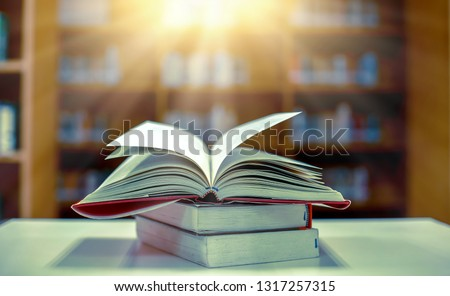 Stack of books in the library and blur bookshelf background #1317257315
