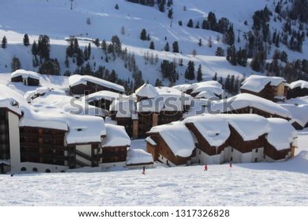 Mountaing Village under Snow #1317326828