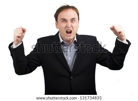 angry businessman on a white background #131734835