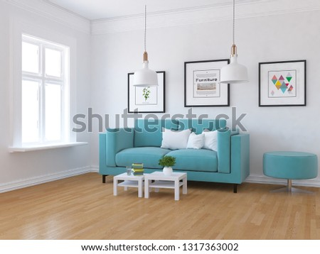 Idea of a white scandinavian living room interior with sofa, tables on the wooden floor and pictures on the large wall and white landscape in window. Home nordic interior. 3D illustration #1317363002