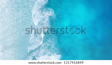 Beach and waves from top view. Turquoise water background from top view. Summer seascape from air. Top view from drone. Travel - image #1317416849