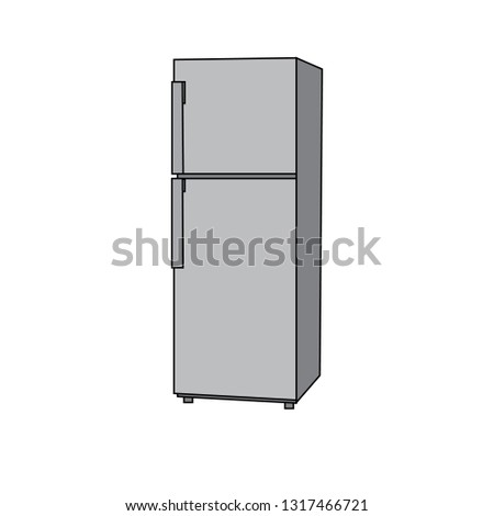 vector illustration of two-door fridge #1317466721