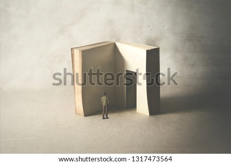 courious man entering in the book's door, fear of wisdom #1317473564