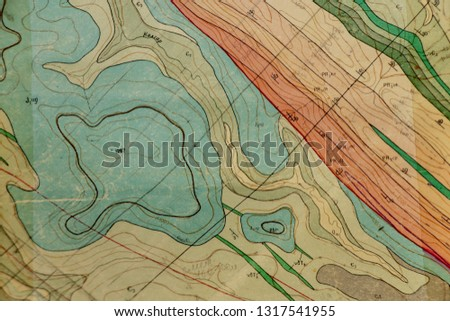 old geological map Royalty-Free Stock Photo #1317541955
