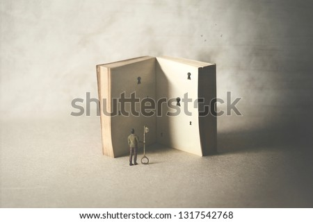 different ways of interpreting a book, surreal concept #1317542768