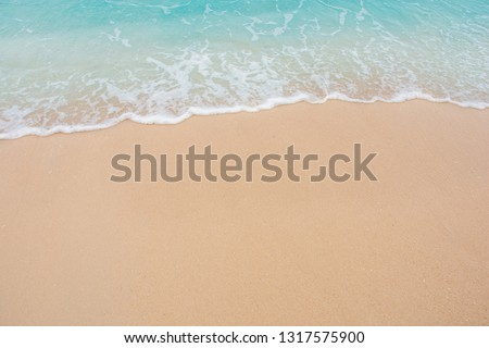 Soft wave of sea on empty sandy beach Background with copy space #1317575900