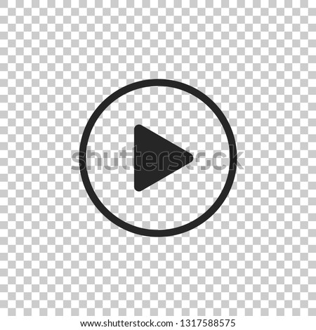 Play icon isolated on transparent background. Flat design. Vector Illustration #1317588575