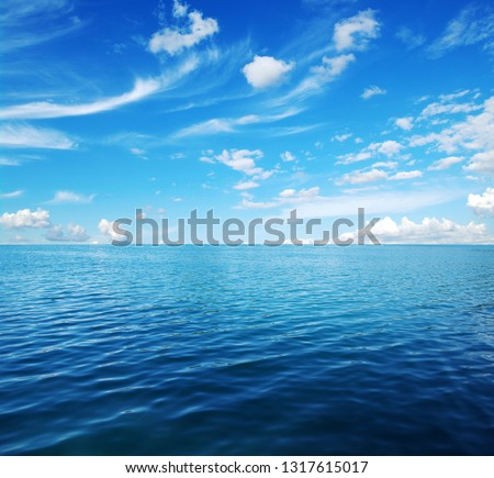 Blue sea water surface on sky #1317615017