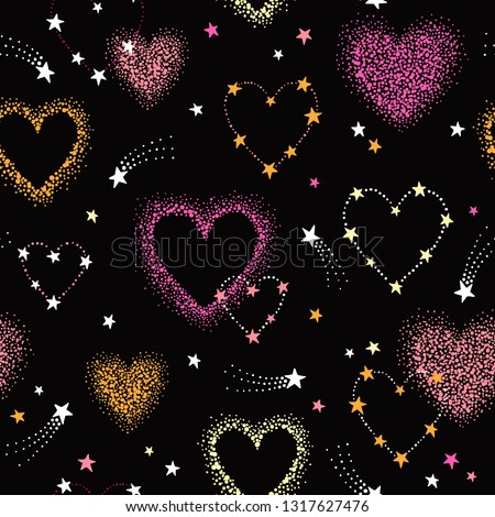 Vector romantic space seamless pattern with pink, coral, yellow heart shape constellations, comets and stars. Night sky love colorful background #1317627476
