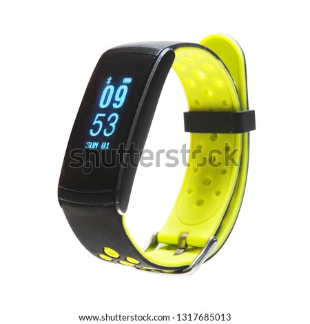 Smart Tracker Watch Isolated on White Background. Black and Green Sports Fitness Fitnessband with Heartrate Monitor Sensor. Side View of Modern Track Activity Accessories Wristband Watch #1317685013