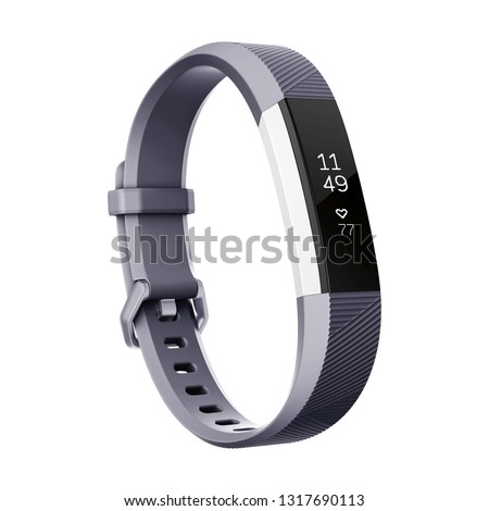 Smart Activity Tracker Watch with Heart Rate Isolated on White Background. Black Sports Fitness Fitnessband with Heartrate Monitor Sensor. Side View of Modern Track Activity Accessorie Wristband Watch #1317690113
