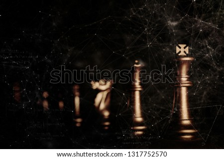 strategy ideas concept business futuristic graphic icon and golden chess board game black colot tone #1317752570