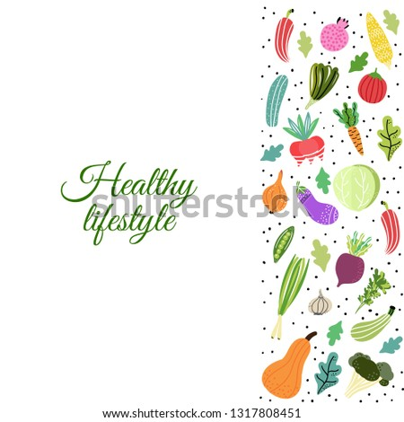 Healthy lifestyle.Organic and fresh vegetables.Concept of healthy eating and lifestyle. Vector Illustration. #1317808451