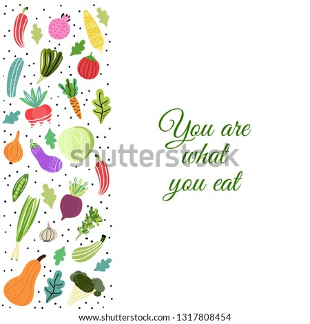 You are what you eat. Organic and fresh vegetables.Concept of healthy eating and lifestyle. Vector Illustration. #1317808454