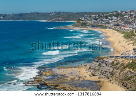 Aerial view of Bar Beach, Newcastle, NSW, Australia, showing the sandy beach, and surf. #1317816884