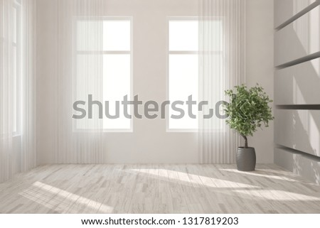 White minimalist empty room. Scandinavian interior design. 3D illustration #1317819203
