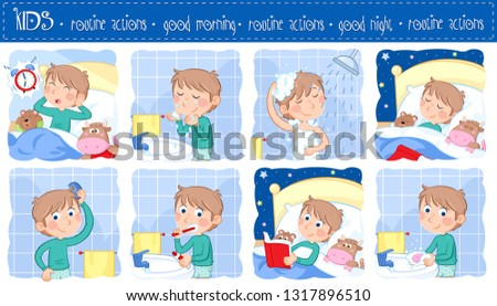 Good morning and good night - Daily routine actions of a little boy with light brown hair - Set of eight adorable cartoon illustrations