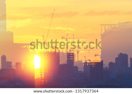 City highrise building construction.  Design and plan for growth. #1317937364