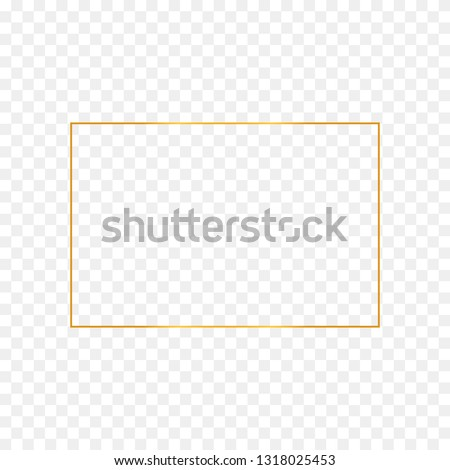 Abstract gold rectangle frame on transparent background #1318025453