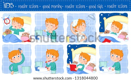 Daily routine actions of a little boy with ginger hair - Good morning and good night - Set of eight lovely cartoon illustrations