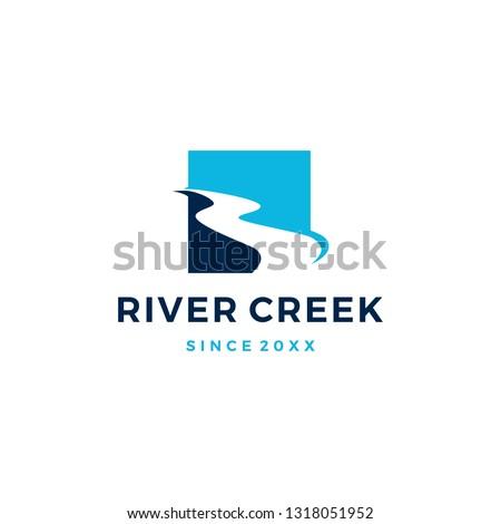 river creek logo vector icon illustration Royalty-Free Stock Photo #1318051952