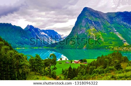 Mountain lake house landscape. Lake house at mountain lake. Mountain lake reflection landscape #1318096322