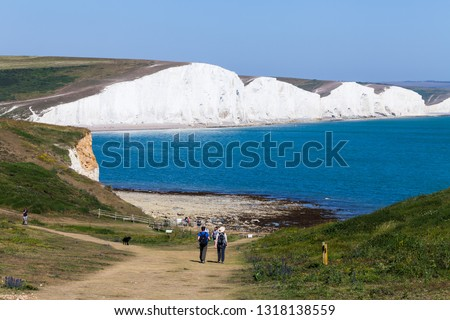 White cliffs of Dover background image. Beautiful sunny day on white cliffs of Dover in Great Britain. #1318138559