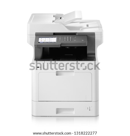 Business Smart Inkjet Multifunction Printer Isolated on White. Front View White Home Colour Document and Photo Jet Printer with Copier, Fax and Scanner. Office Printing Appliances. Peripheral Device