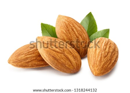 Close-up of almonds with leaves, isolated on white background #1318244132