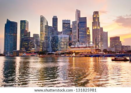 Skyline of Singapore at a beautiful sunset Royalty-Free Stock Photo #131825981