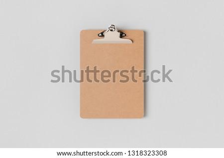 Wooden clipboard mockup. Top view. #1318323308
