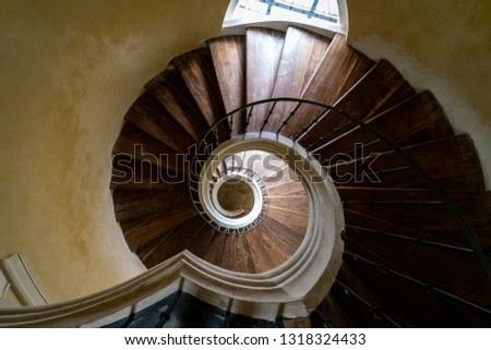 Old spiral staircase. View from above. #1318324433