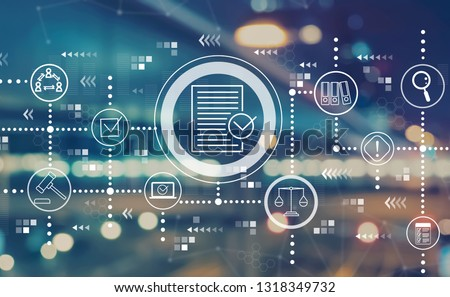 Compliance theme with blurred city abstract lights background Royalty-Free Stock Photo #1318349732