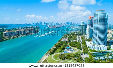 Aerial view of South Pointe Park. Miami Beach. Florida. USA.  #1318437023
