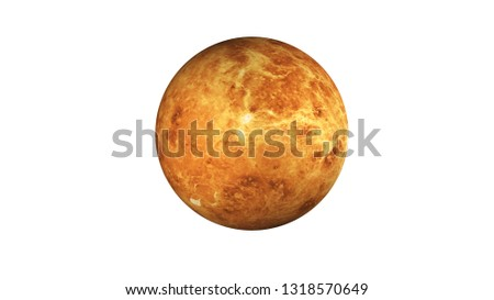 Venus planet of solar system. Dead planet in the space isolated on white. Science fiction. Elements of this image were furnished by NASA.