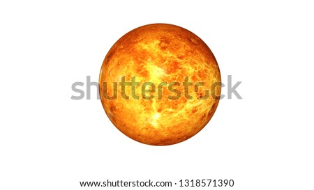 Venus planet of solar system. Burning planet isolated on white. Science fiction. Elements of this image were furnished by NASA.