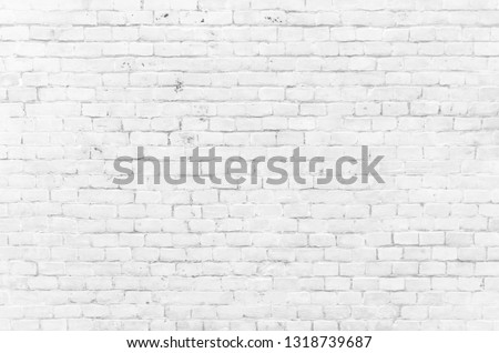 Background of a white brick old wall. Clear white brick wall texture. #1318739687