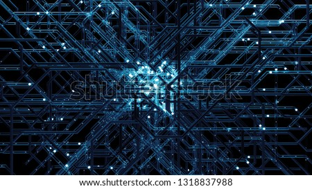 3d render digital background made of complex tube structure with reflective and refractive materials. Network communication concept. #1318837988