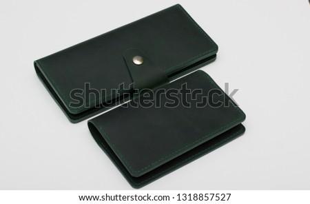 Handmade purse made of genuine leather dark green #1318857527