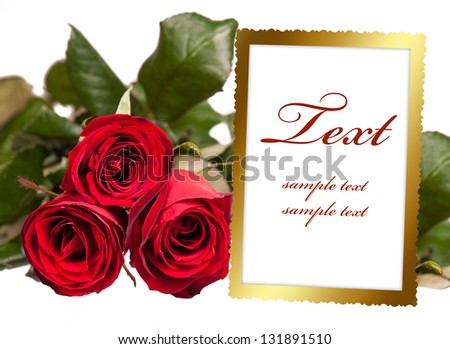 empty photo frame with bouquet of roses